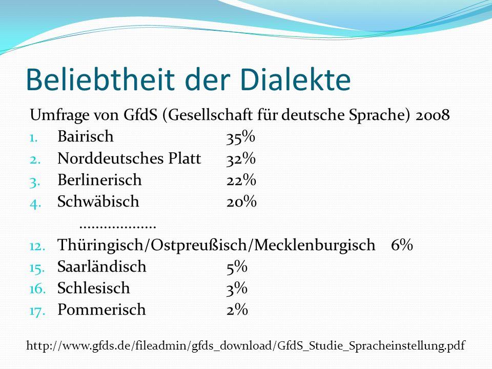 Beliebtheit der Dialekte Umfrage von GfdS (Gesellschaft für deutsche Sprache) 2008 1.