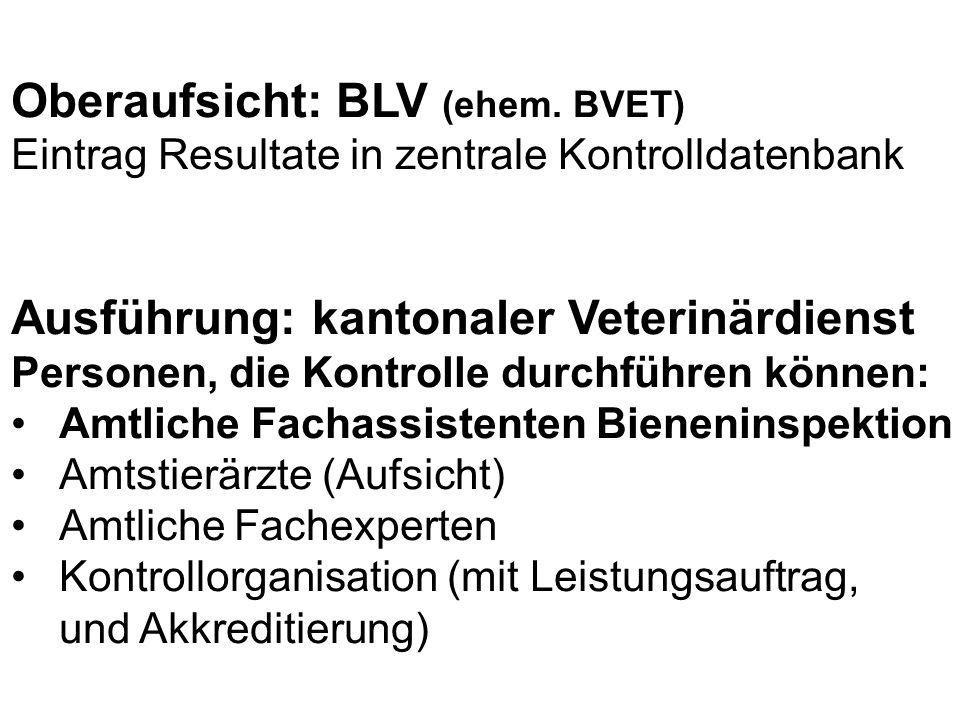 Oberaufsicht: BLV (ehem. BVET) Eintrag Resultate in zentrale Kontrolldatenbank Ausführung: kantonaler Veterinärdienst Personen, die Kontrolle durchfüh