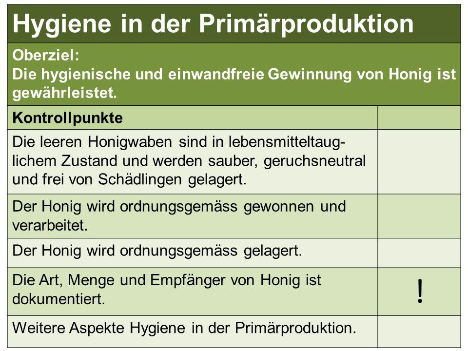 Hygiene in der Primärproduktion Oberziel: Die hygienische und einwandfreie Gewinnung von Honig ist gewährleistet. Kontrollpunkte Die leeren Honigwaben