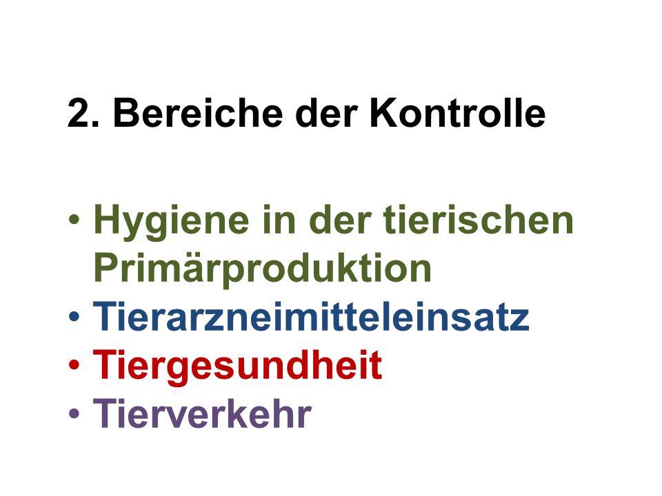 Hygiene in der tierischen Primärproduktion Tierarzneimitteleinsatz Tiergesundheit Tierverkehr 2. Bereiche der Kontrolle
