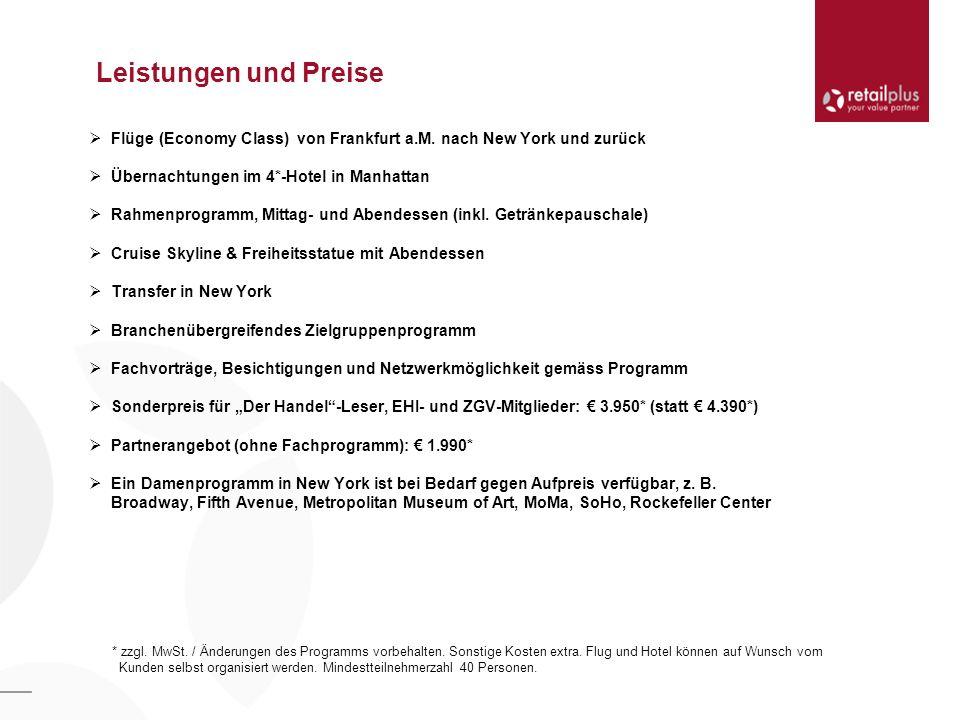 Leistungen und Preise Flüge (Economy Class) von Frankfurt a.M.