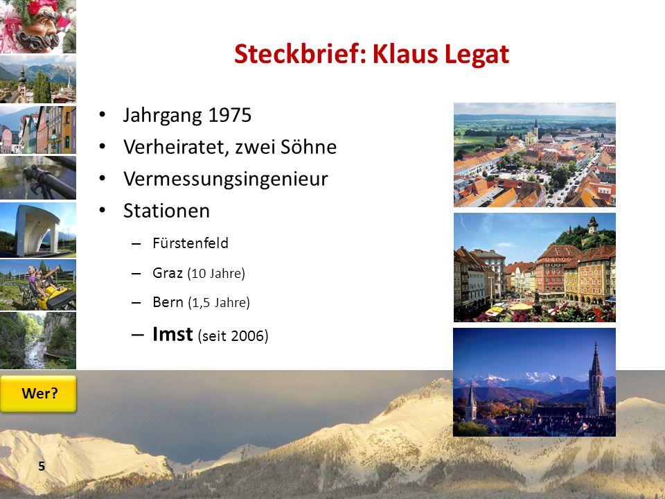 Jahrgang 1975 Verheiratet, zwei Söhne Vermessungsingenieur Stationen – Fürstenfeld – Graz (10 Jahre) – Bern (1,5 Jahre) – Imst (seit 2006) Steckbrief: