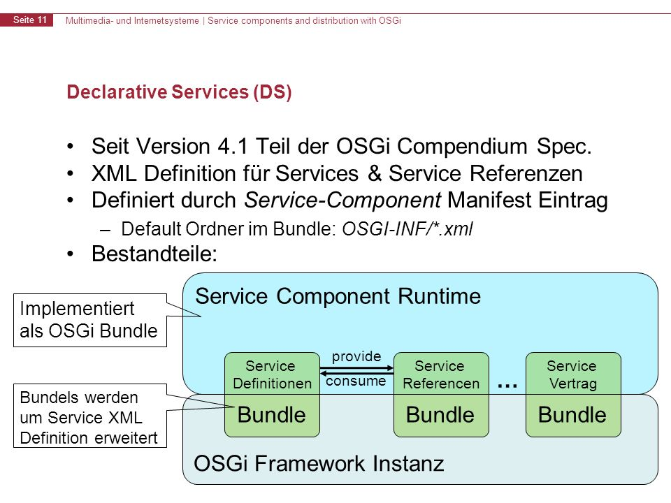 Multimedia- und Internetsysteme | Service components and distribution with OSGi Seite 11 Declarative Services (DS) Seit Version 4.1 Teil der OSGi Comp