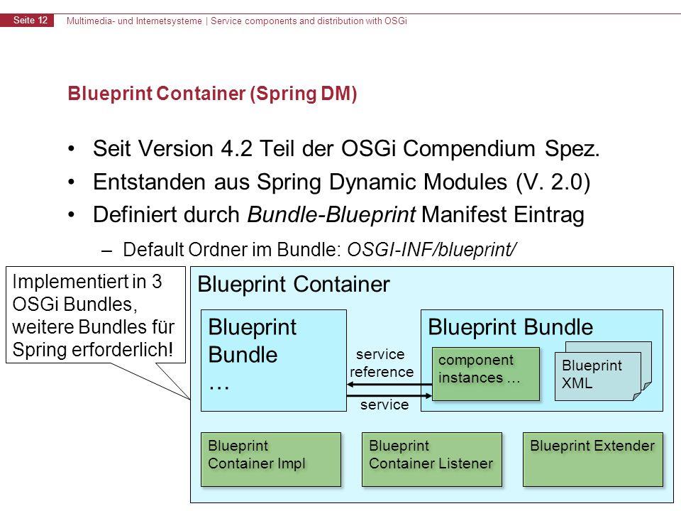 Multimedia- und Internetsysteme | Service components and distribution with OSGi Seite 12 Blueprint Container (Spring DM) Seit Version 4.2 Teil der OSGi Compendium Spez.