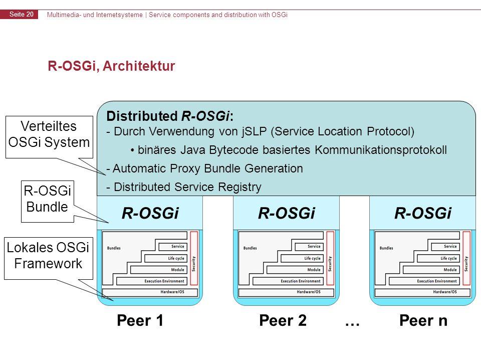 Multimedia- und Internetsysteme | Service components and distribution with OSGi Seite 20 R-OSGi, Architektur Distributed R-OSGi: - Durch Verwendung von jSLP (Service Location Protocol) binäres Java Bytecode basiertes Kommunikationsprotokoll - Automatic Proxy Bundle Generation - Distributed Service Registry R-OSGi Peer 1Peer 2Peer n… Verteiltes OSGi System R-OSGi Bundle Lokales OSGi Framework
