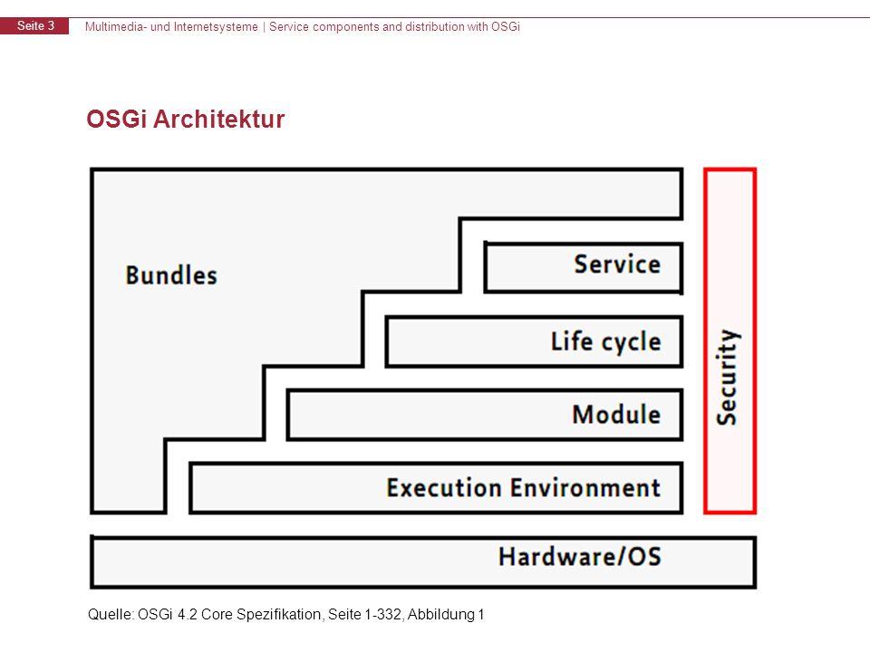 Multimedia- und Internetsysteme | Service components and distribution with OSGi Seite 3 OSGi Architektur Quelle: OSGi 4.2 Core Spezifikation, Seite 1-332, Abbildung 1