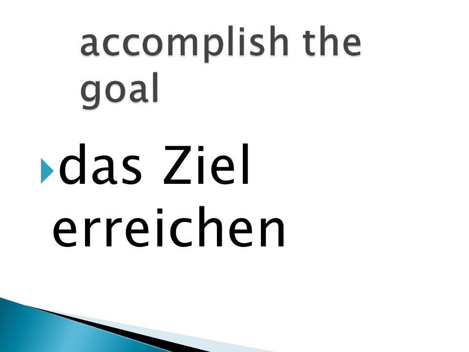 das Ziel erreichen