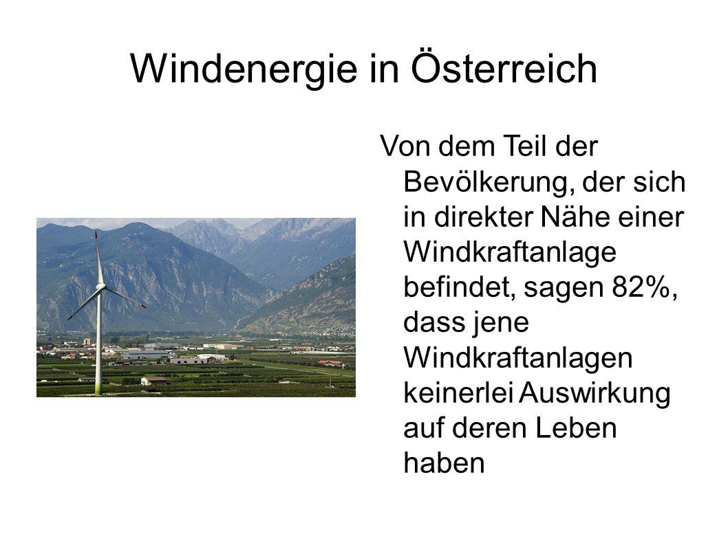 Windenergie in Österreich Von dem Teil der Bevölkerung, der sich in direkter Nähe einer Windkraftanlage befindet, sagen 82%, dass jene Windkraftanlage