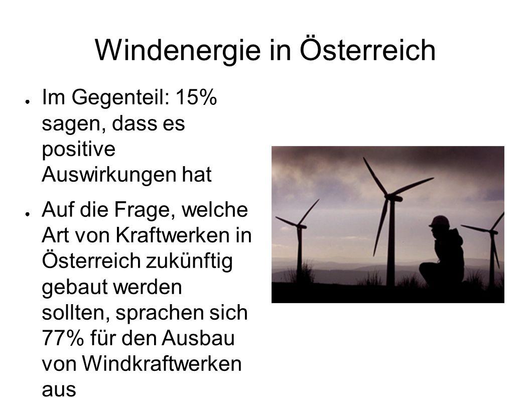 Windenergie in Österreich Im Gegenteil: 15% sagen, dass es positive Auswirkungen hat Auf die Frage, welche Art von Kraftwerken in Österreich zukünftig
