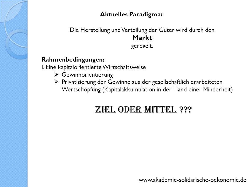 www.akademie-solidarische-oekonomie.de Aktuelles Paradigma: Die Herstellung und Verteilung der Güter wird durch den Markt geregelt. Rahmenbedingungen: