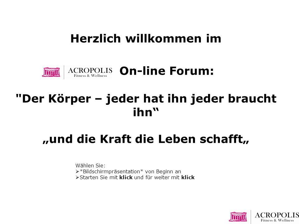 Herzlich willkommen im On-line Forum: