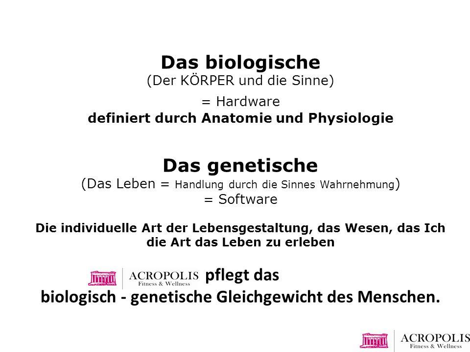 Das biologische (Der KÖRPER und die Sinne) = Hardware definiert durch Anatomie und Physiologie Das genetische (Das Leben = Handlung durch die Sinnes W