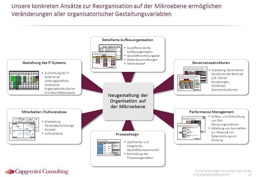Eine erfolgreiche Umsetzung der Lösungsvorschläge ist erfahrungsgemäß eine der größten Herausforderung in Reorganisationsprozessen Copyright © 2012 Capgemini Consulting.