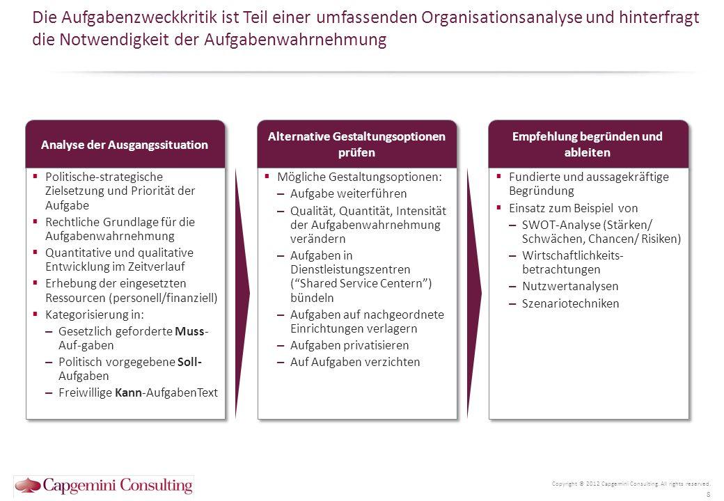 Ausrichtung auf Ergebnisse, Leistungen, Produkte Die Entwicklung zu einer prozessorientierten Organisation verändert das Aufgabenverständnis einer Behörde grundlegend Copyright © 2012 Capgemini Consulting.
