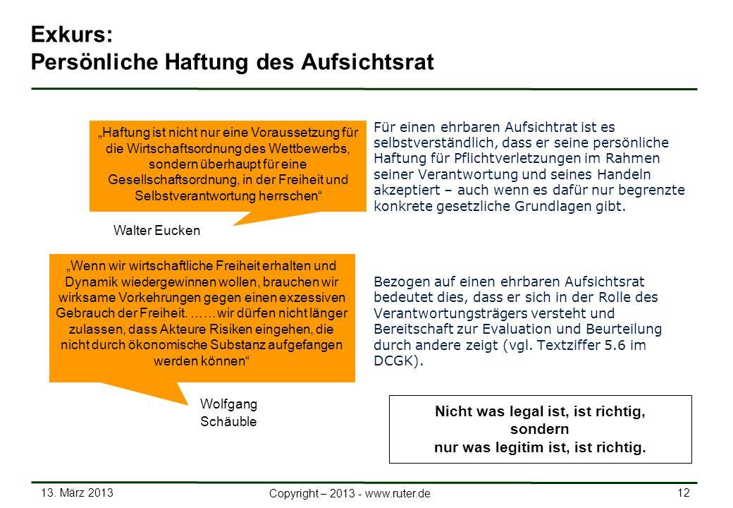 13. März 2013 12 Copyright – 2013 - www.ruter.de Exkurs: Persönliche Haftung des Aufsichtsrat Für einen ehrbaren Aufsichtrat ist es selbstverständlich