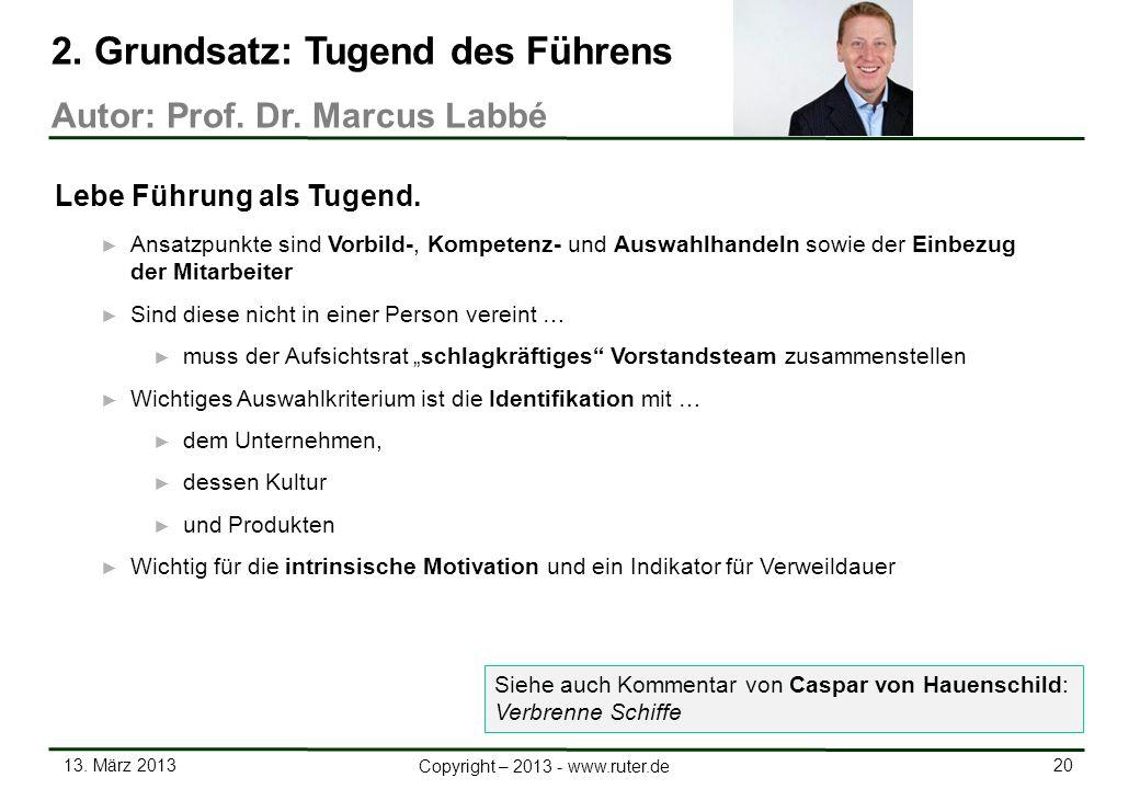 13. März 2013 20 Copyright – 2013 - www.ruter.de Ansatzpunkte sind Vorbild-, Kompetenz- und Auswahlhandeln sowie der Einbezug der Mitarbeiter Sind die