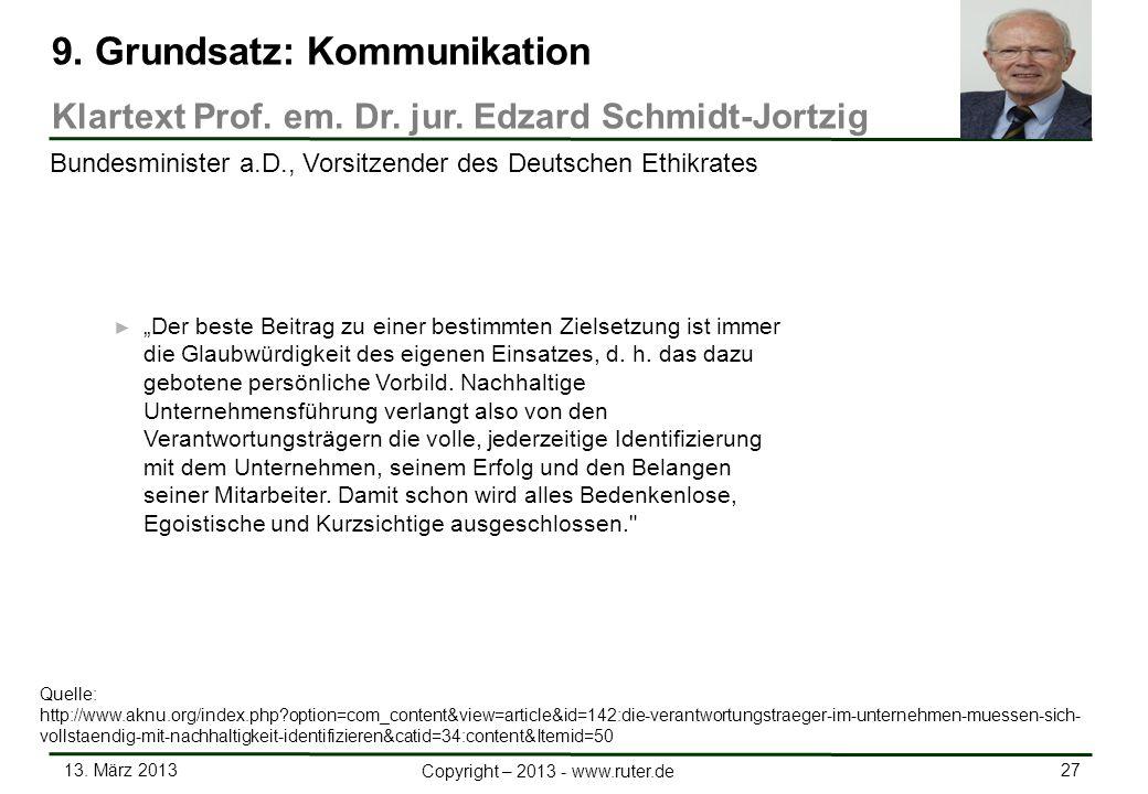 13. März 2013 27 Copyright – 2013 - www.ruter.de Der beste Beitrag zu einer bestimmten Zielsetzung ist immer die Glaubwürdigkeit des eigenen Einsatzes