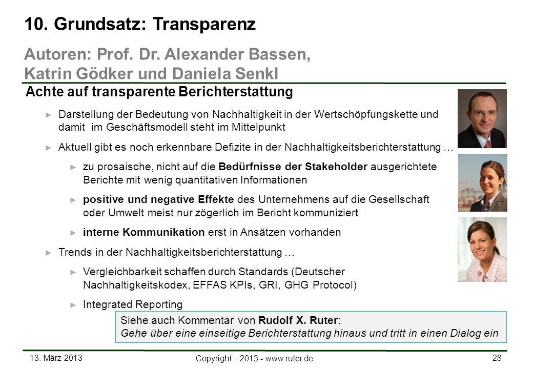 13. März 2013 28 Copyright – 2013 - www.ruter.de Darstellung der Bedeutung von Nachhaltigkeit in der Wertschöpfungskette und damit im Geschäftsmodell