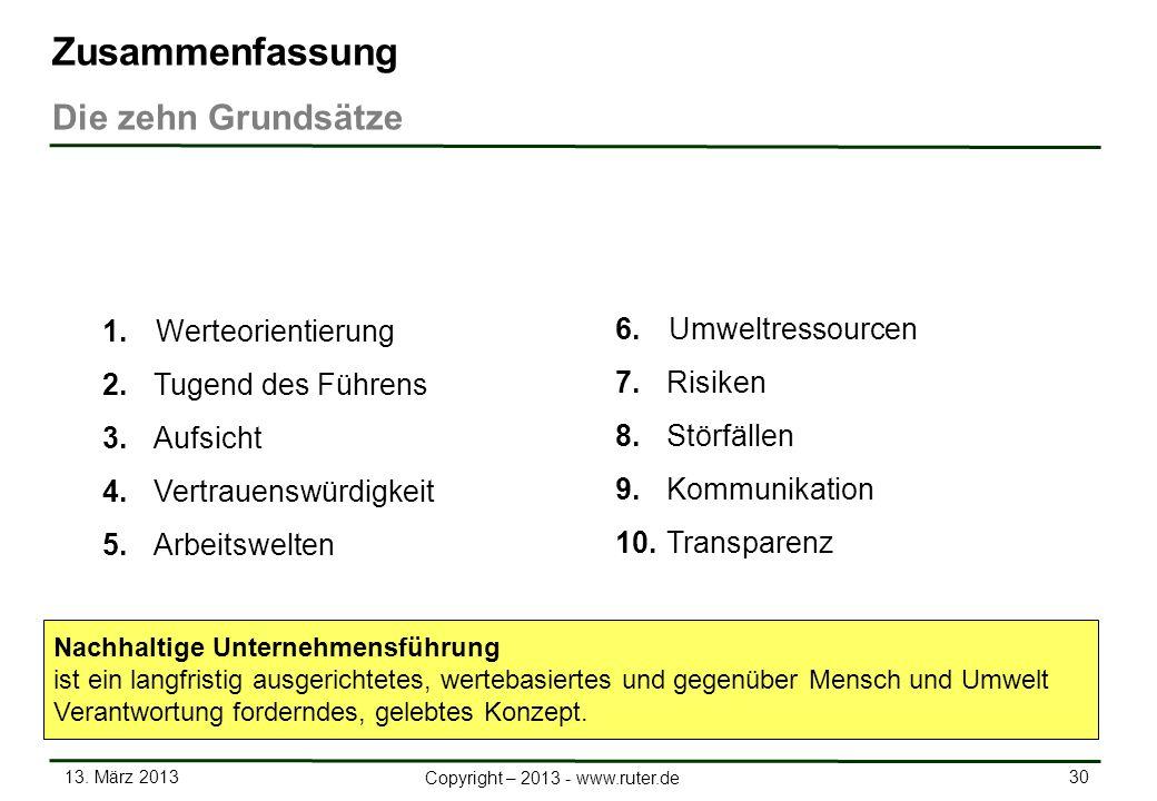 13. März 2013 30 Copyright – 2013 - www.ruter.de 1.Werteorientierung 2. Tugend des Führens 3. Aufsicht 4. Vertrauenswürdigkeit 5. Arbeitswelten Zusamm