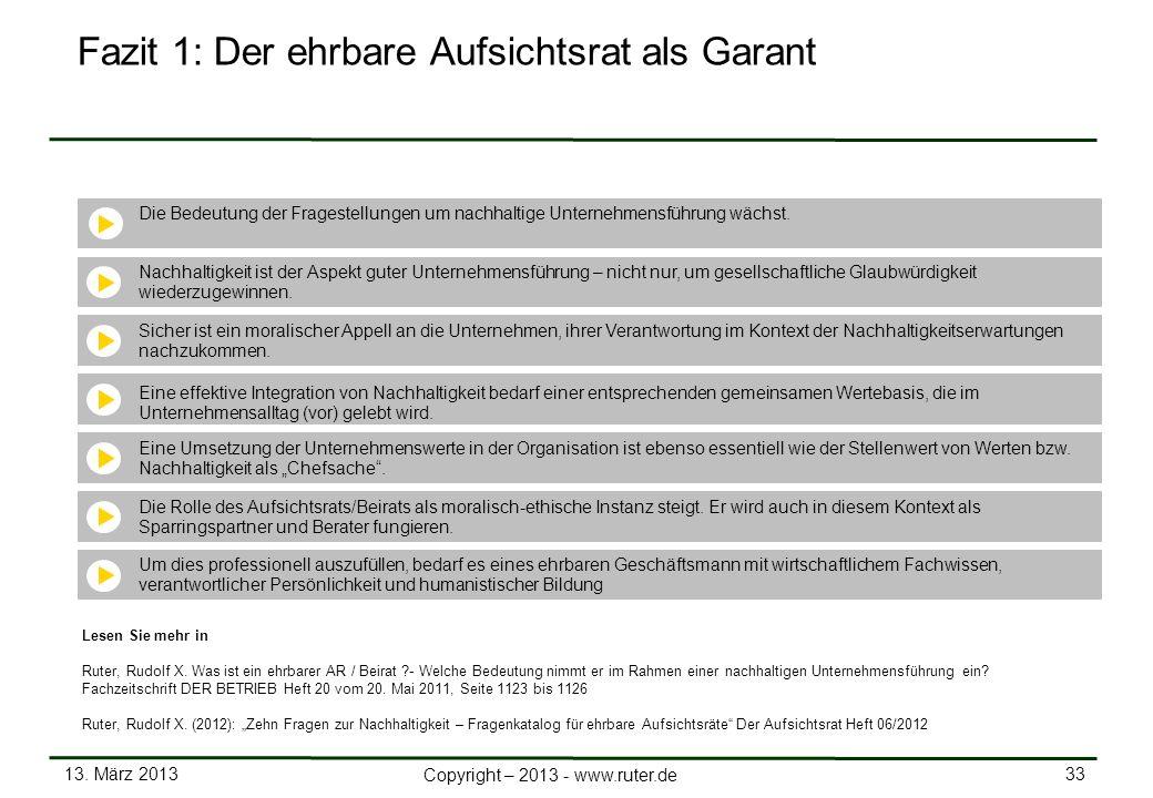 13. März 2013 33 Copyright – 2013 - www.ruter.de Fazit 1: Der ehrbare Aufsichtsrat als Garant Die Bedeutung der Fragestellungen um nachhaltige Unterne