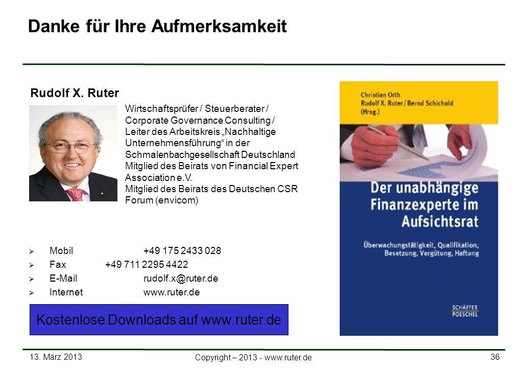 13. März 2013 36 Copyright – 2013 - www.ruter.de Mobil +49 175 2433 028 Fax+49 711 2295 4422 E-Mail rudolf.x@ruter.de Internetwww.ruter.de Rudolf X. R