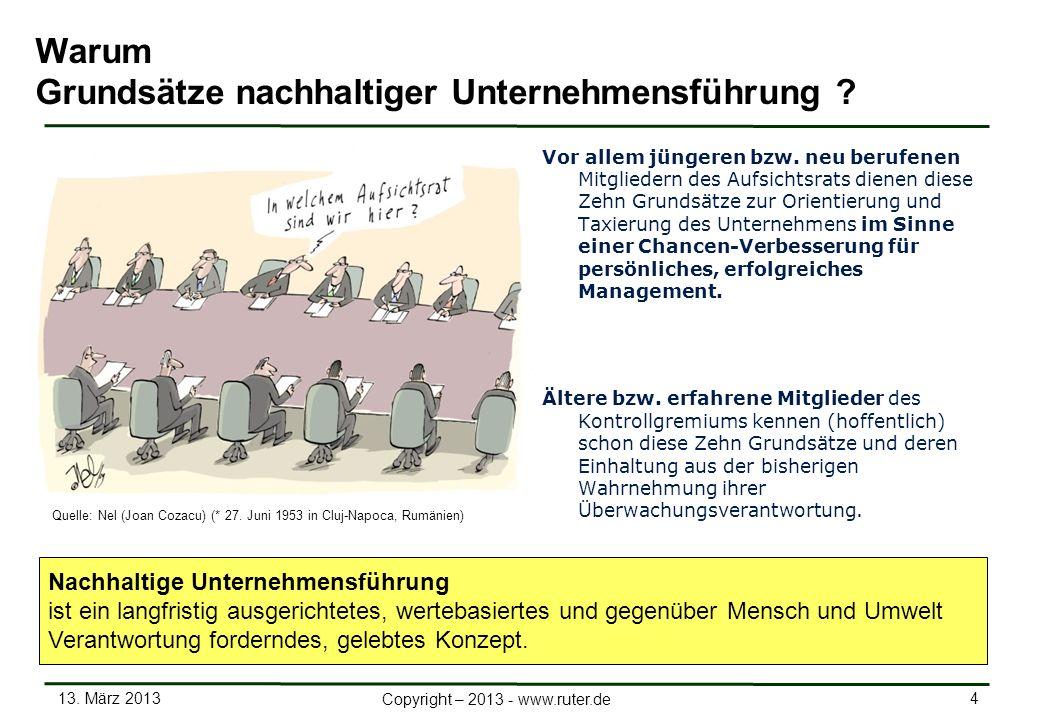 13. März 2013 4 Copyright – 2013 - www.ruter.de Warum Grundsätze nachhaltiger Unternehmensführung ? Vor allem jüngeren bzw. neu berufenen Mitgliedern