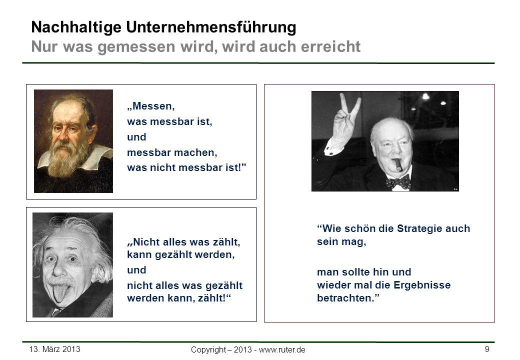 13. März 2013 9 Copyright – 2013 - www.ruter.de Nachhaltige Unternehmensführung Nur was gemessen wird, wird auch erreicht Messen, was messbar ist, und