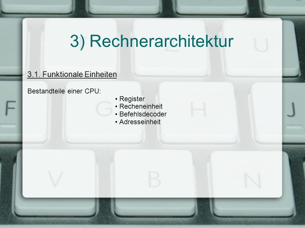 3) Rechnerarchitektur 3.1. Funktionale Einheiten Bestandteile einer CPU: Register Recheneinheit Befehlsdecoder Adresseinheit