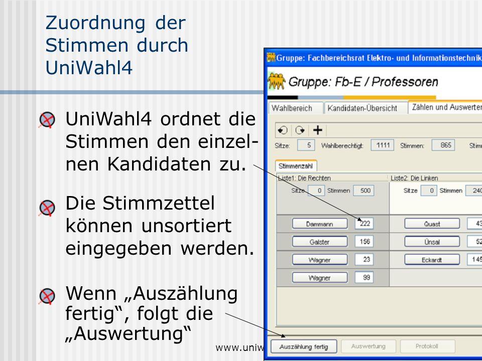 www.uniwahl-soft.de11 Zuordnung der Stimmen durch UniWahl4 Die Stimmzettel können unsortiert eingegeben werden. Wenn Auszählung fertig, folgt die Ausw