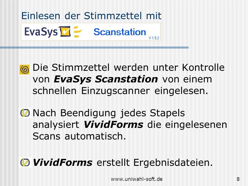 www.uniwahl-soft.de8 VividForms erstellt Ergebnisdateien. Nach Beendigung jedes Stapels analysiert VividForms die eingelesenen Scans automatisch. Einl