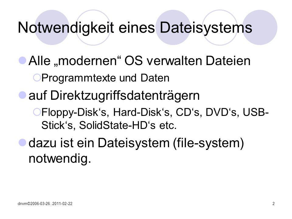 drwm©2006-03-26..2011-02-222 Notwendigkeit eines Dateisystems Alle modernen OS verwalten Dateien Programmtexte und Daten auf Direktzugriffsdatenträgern Floppy-Disks, Hard-Disks, CDs, DVDs, USB- Sticks, SolidState-HDs etc.