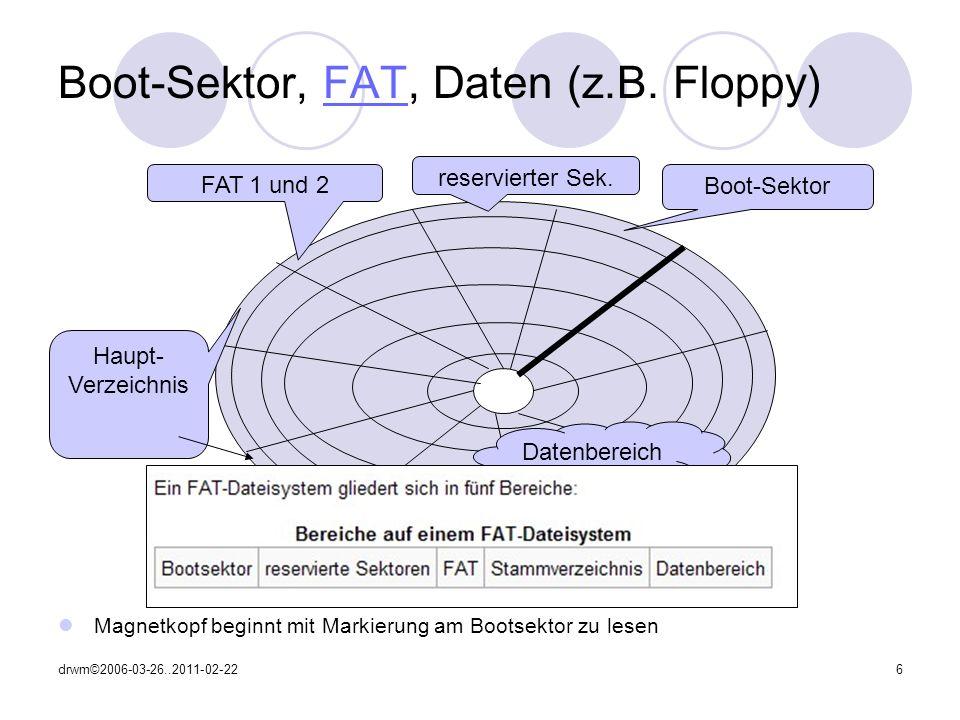 drwm©2006-03-26..2011-02-2217 Quellen: http://www.compu- seite.de/betriebssysteme/dateisysteme.htm http://www.compu- seite.de/betriebssysteme/dateisysteme.htm http://support.microsoft.com/kb/140418/de http://maettig.com/?page=Studium/FAT32 …und eigene Erfahrungen