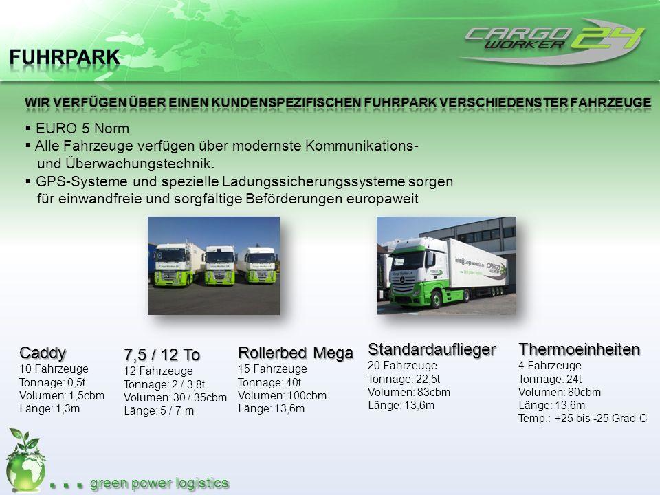 … green power logistics EURO 5 Norm Alle Fahrzeuge verfügen über modernste Kommunikations- und Überwachungstechnik. GPS-Systeme und spezielle Ladungss