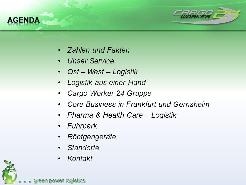 … green power logistics Zahlen und Fakten Unser Service Ost – West – Logistik Logistik aus einer Hand Cargo Worker 24 Gruppe Core Business in Frankfur
