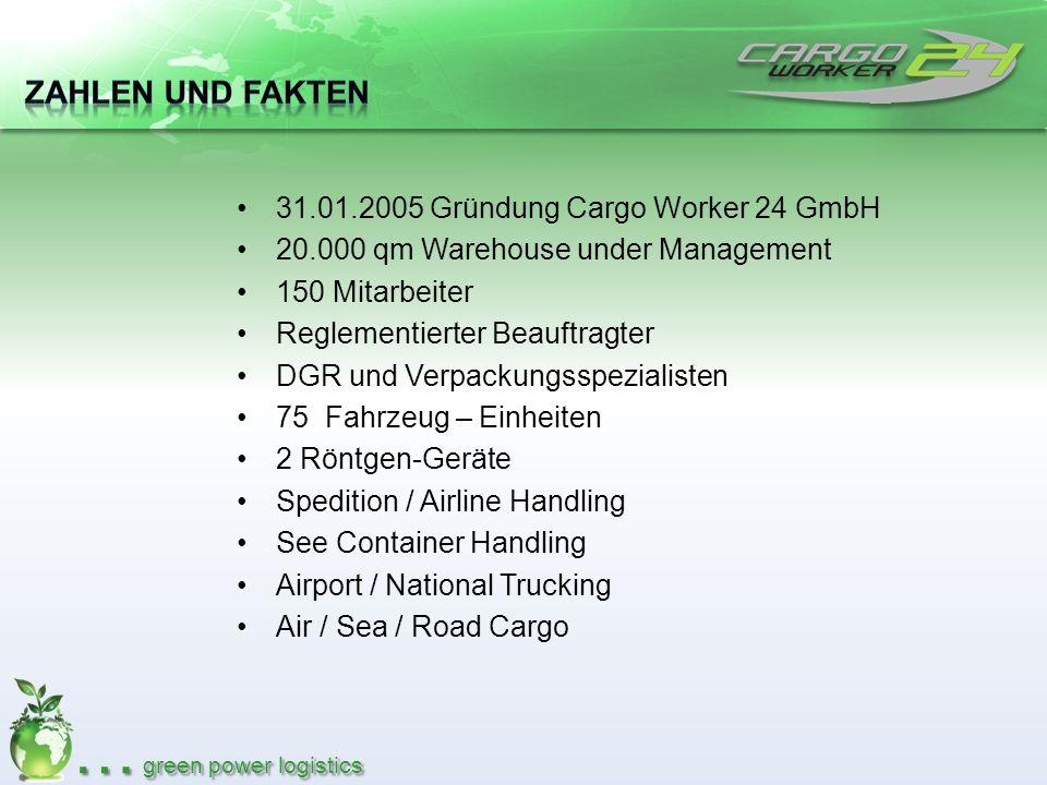 31.01.2005 Gründung Cargo Worker 24 GmbH 20.000 qm Warehouse under Management 150 Mitarbeiter Reglementierter Beauftragter DGR und Verpackungsspeziali