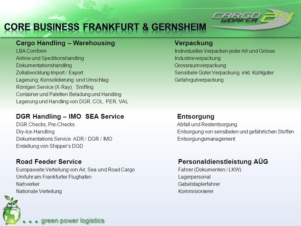 … green power logistics Cargo Handling – Warehousing LBA Conform Airline und Speditionshandling Dokumentationshandling Zollabwicklung Import / Export