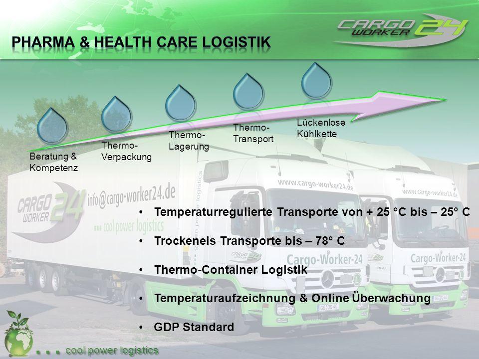 … cool power logistics Beratung & Kompetenz Thermo- Lagerung Thermo- Verpackung Thermo- Transport Lückenlose Kühlkette Temperaturregulierte Transporte