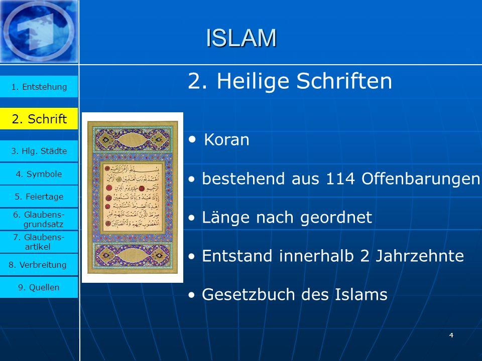4 ISLAM 3.Hlg. Städte 1. Entstehung 2. Schrift 4.