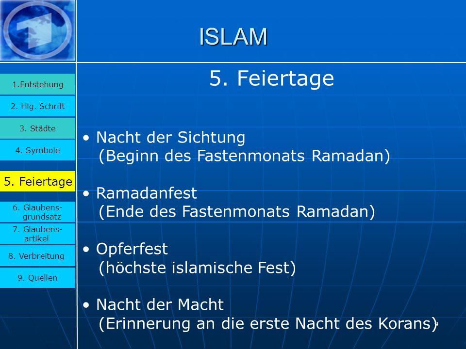 9 ISLAM 3.Städte 2. Hlg. Schrift 1.Entstehung 4. Symbole 5.