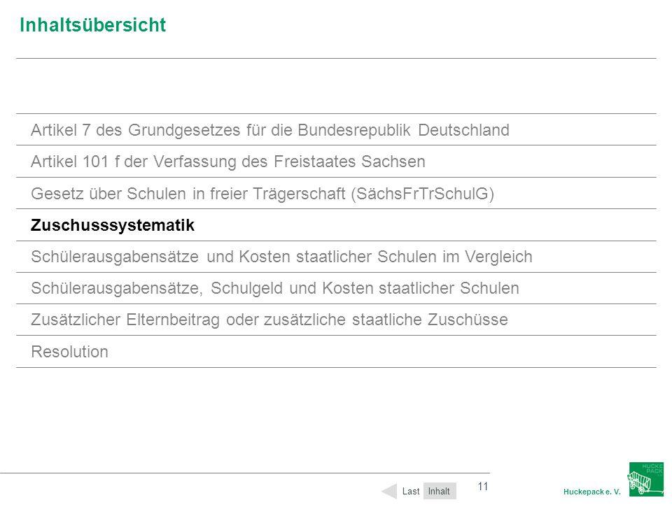 11 Huckepack e. V. 11 Inhaltsübersicht Inhalt Last Artikel 7 des Grundgesetzes für die Bundesrepublik Deutschland Artikel 101 f der Verfassung des Fre