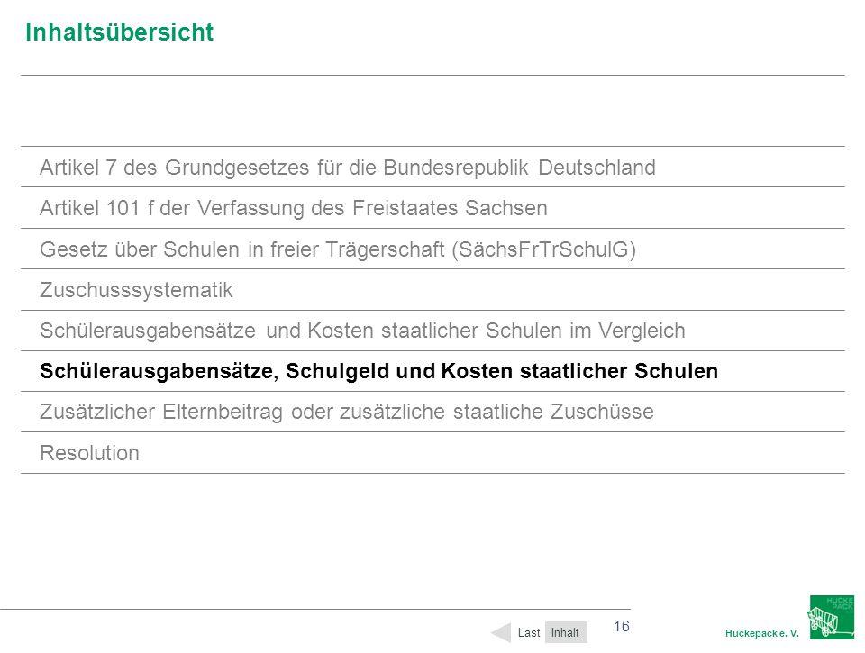 16 Huckepack e. V. 16 Inhaltsübersicht Inhalt Last Artikel 7 des Grundgesetzes für die Bundesrepublik Deutschland Artikel 101 f der Verfassung des Fre