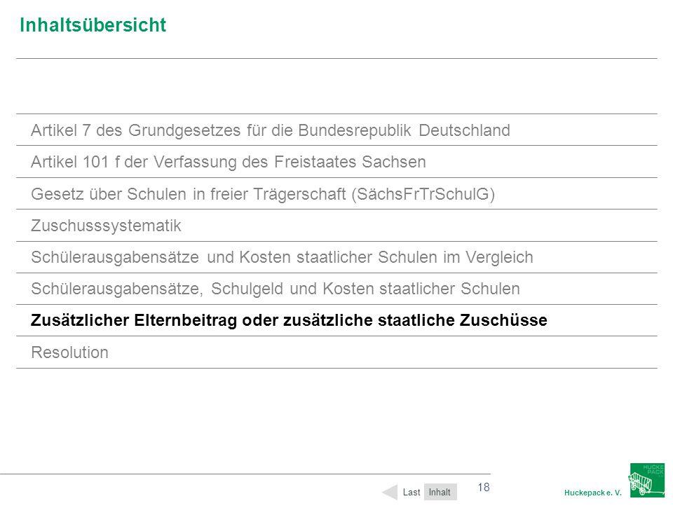 18 Huckepack e. V. 18 Inhaltsübersicht Inhalt Last Artikel 7 des Grundgesetzes für die Bundesrepublik Deutschland Artikel 101 f der Verfassung des Fre