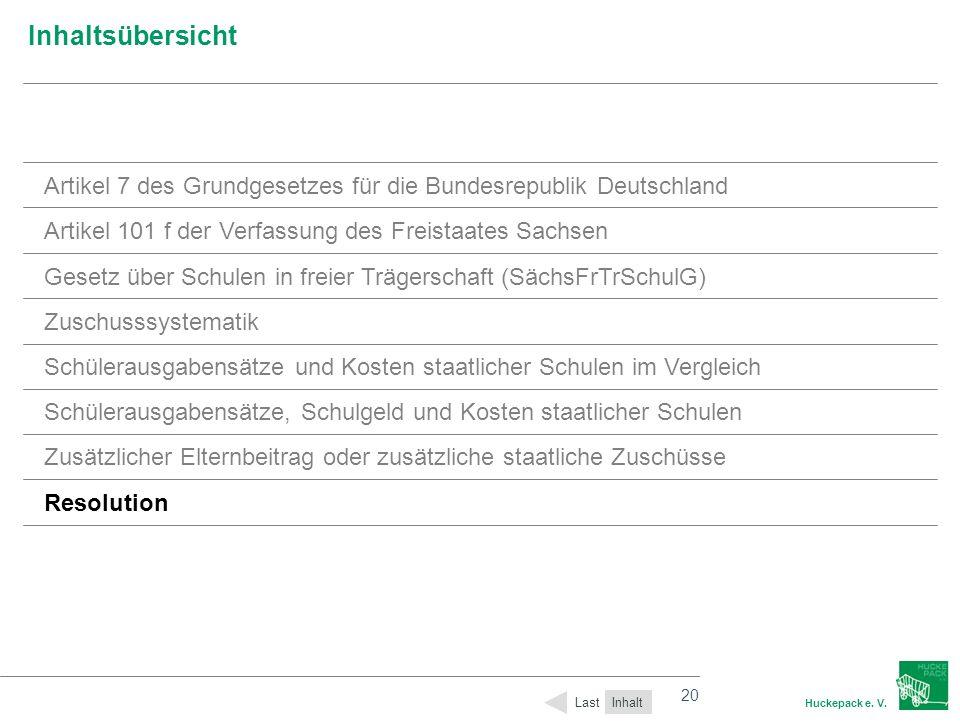 20 Huckepack e. V. 20 Inhaltsübersicht Inhalt Last Artikel 7 des Grundgesetzes für die Bundesrepublik Deutschland Artikel 101 f der Verfassung des Fre