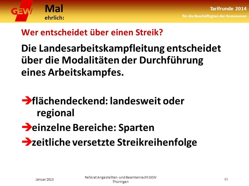 Mal ehrlich: Tarifrunde 2014 für die Beschäftigten der Kommunen Januar 2013 11 Referat Angestellten- und Beamtenrecht GEW Thüringen Wer entscheidet über einen Streik.