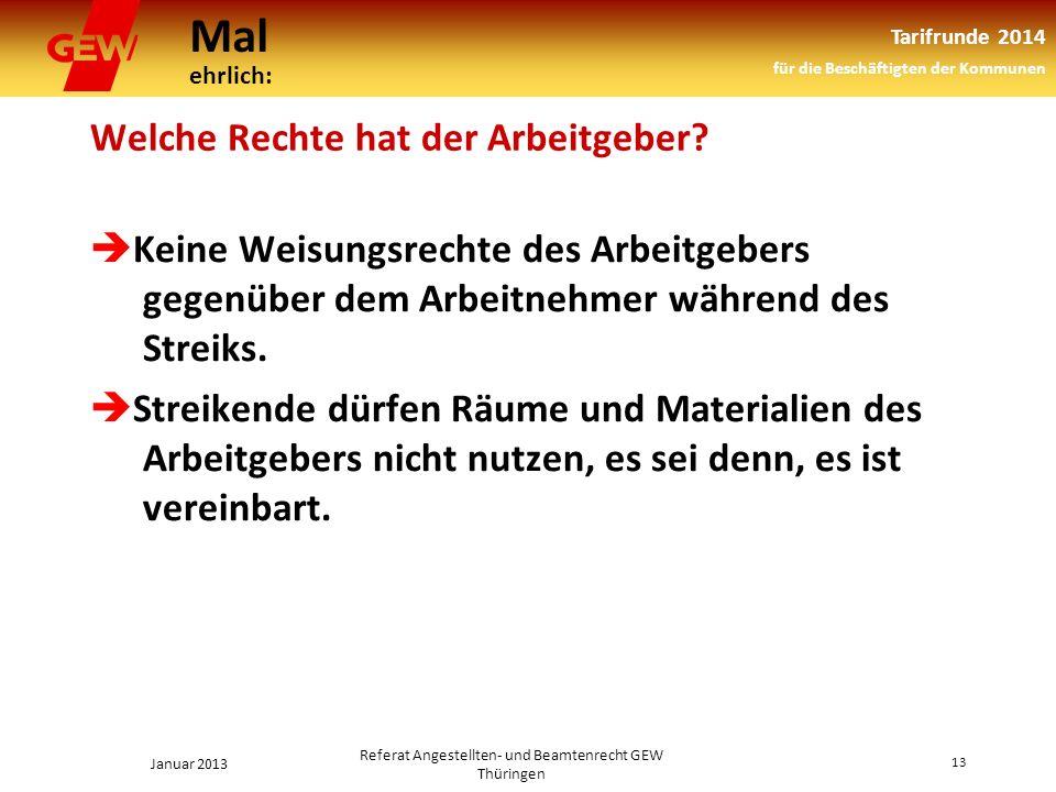 Mal ehrlich: Tarifrunde 2014 für die Beschäftigten der Kommunen Januar 2013 13 Referat Angestellten- und Beamtenrecht GEW Thüringen Welche Rechte hat der Arbeitgeber.
