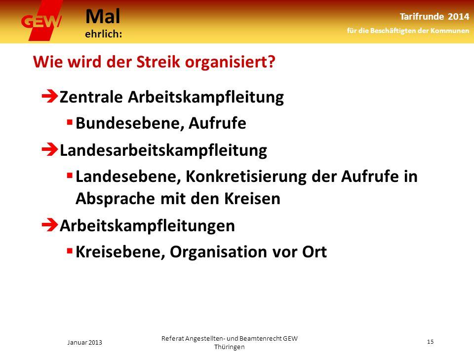 Mal ehrlich: Tarifrunde 2014 für die Beschäftigten der Kommunen Januar 2013 15 Referat Angestellten- und Beamtenrecht GEW Thüringen Wie wird der Streik organisiert.