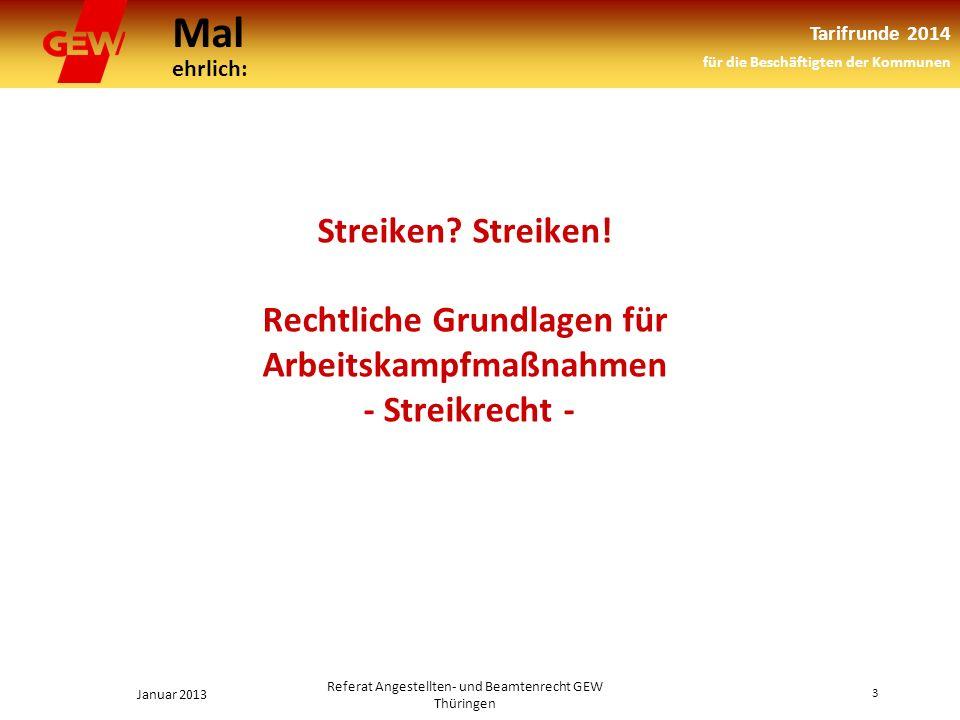 Mal ehrlich: Tarifrunde 2014 für die Beschäftigten der Kommunen Januar 2013 3 Referat Angestellten- und Beamtenrecht GEW Thüringen Streiken.