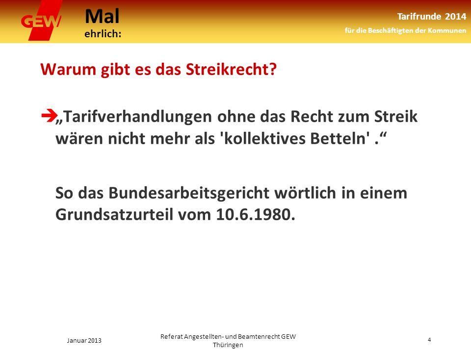Mal ehrlich: Tarifrunde 2014 für die Beschäftigten der Kommunen Januar 2013 4 Referat Angestellten- und Beamtenrecht GEW Thüringen Warum gibt es das Streikrecht.