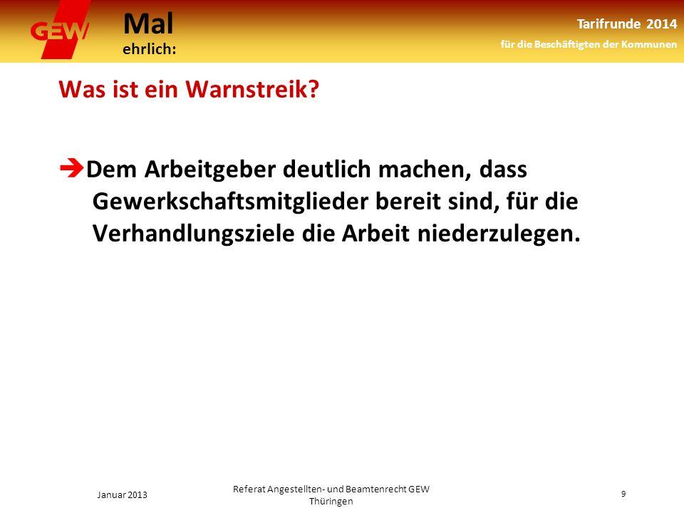 Mal ehrlich: Tarifrunde 2014 für die Beschäftigten der Kommunen Januar 2013 9 Referat Angestellten- und Beamtenrecht GEW Thüringen Was ist ein Warnstreik.