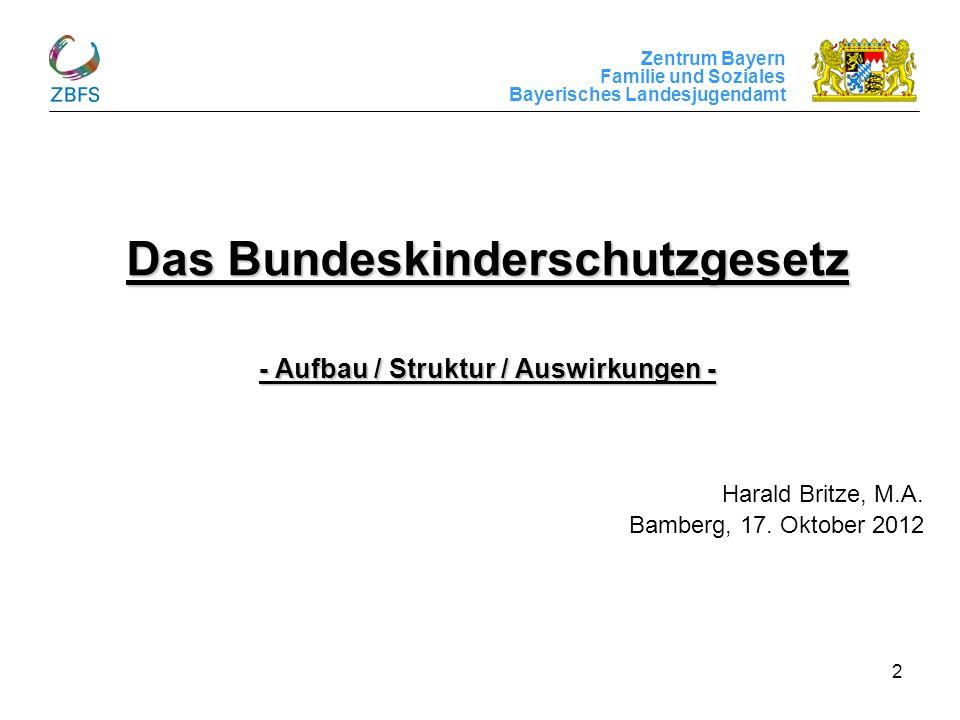Zentrum Bayern Familie und Soziales Bayerisches Landesjugendamt 2 Das Bundeskinderschutzgesetz - Aufbau / Struktur / Auswirkungen - Harald Britze, M.A
